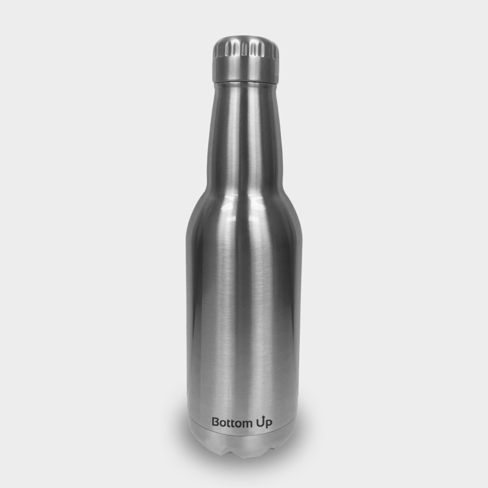 Powder Coated Bottom Up 17 oz Beer Bottle (with Custom Laser Etching)
