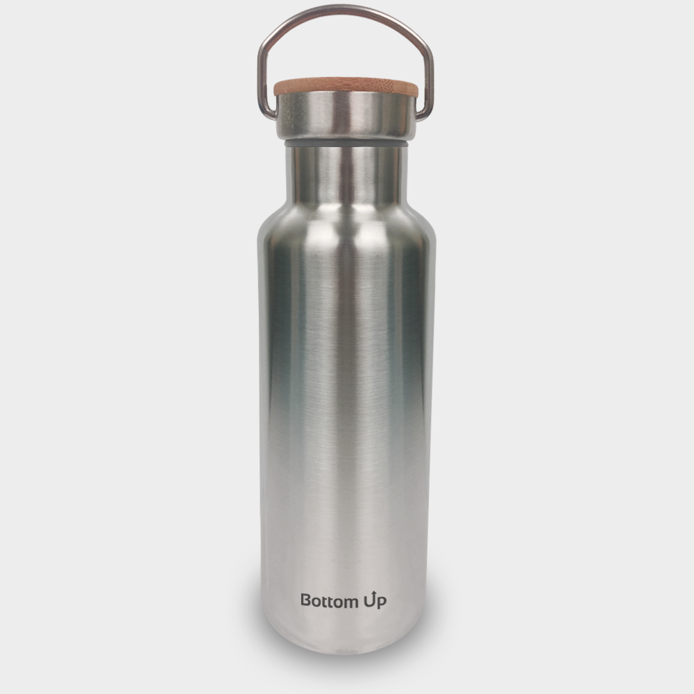 Powder Coated Bottom Up 20 oz Water Bottle w/ Bamboo Lid (with Custom Laser Etching)